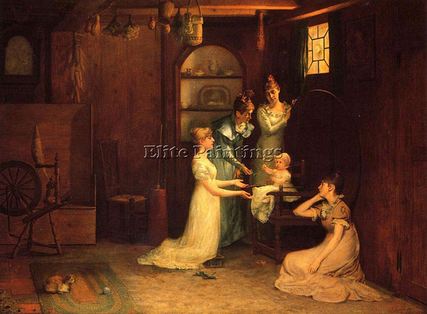 FRANCIS DAVIS MILLET MILLET FRANCIS DAVID PLAYING WITH BABY ARTIST PAINTING OIL