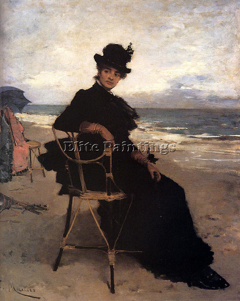 FRANCISCO MIRALLES A LADY SEATED ON A VERANDA ARTIST PAINTING REPRODUCTION OIL