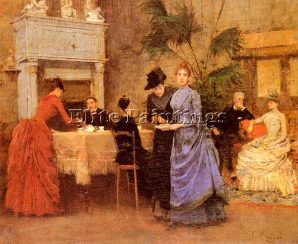 FRANCISCO MIRALLES AFTERNOON TEA ARTIST PAINTING REPRODUCTION HANDMADE OIL REPRO