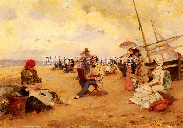 FRANCISCO MIRALLES THE ARTIST SKETCHING ON A BEACH ARTIST PAINTING REPRODUCTION