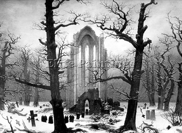 CASPAR DAVID FRIEDRICH MONASTERY GRAVEYARD IN THE SNOW CDF ARTIST PAINTING REPRO