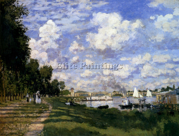 CLAUDE MONET THE MARINA AT ARGENTEUIL ARTIST PAINTING REPRODUCTION HANDMADE OIL