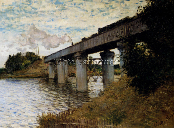 CLAUDE MONET THE RAILWAY BRIDGE AT ARGENTEUIL ARTIST PAINTING REPRODUCTION OIL