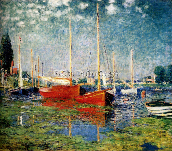 CLAUDE MONET THE RED BOATS ARGENTEUIL ARTIST PAINTING REPRODUCTION HANDMADE OIL