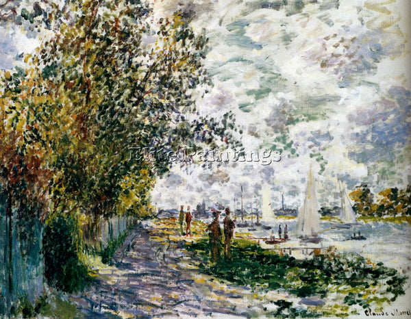 CLAUDE MONET THE RIVERBANK AT GENNEVILLIERS ARTIST PAINTING HANDMADE OIL CANVAS