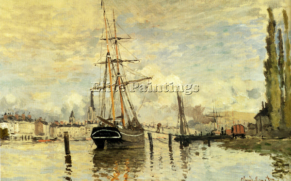 CLAUDE MONET SEINE AT ROUEN 1872 ARTIST PAINTING REPRODUCTION HANDMADE OIL REPRO
