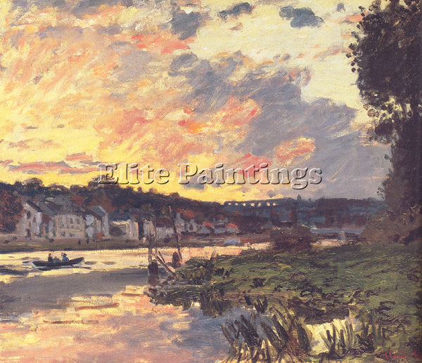 CLAUDE MONET THE SEINE AT BOUGIVAL IN THE EVENING ARTIST PAINTING REPRODUCTION