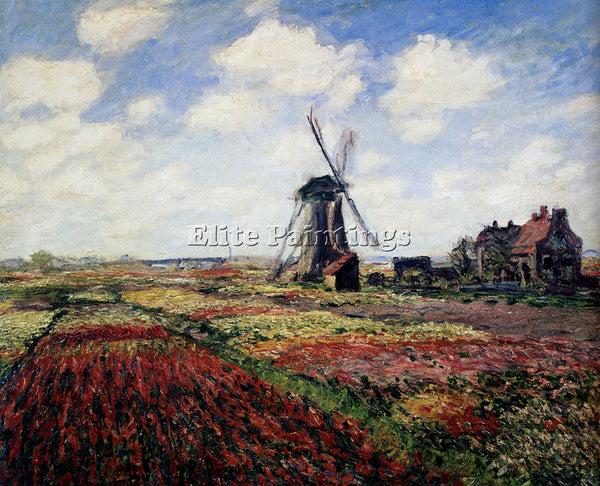 CLAUDE MONET TULIP FIELDS WITH THE RIJNSBURG WINDMILL 1886 ARTIST PAINTING REPRO