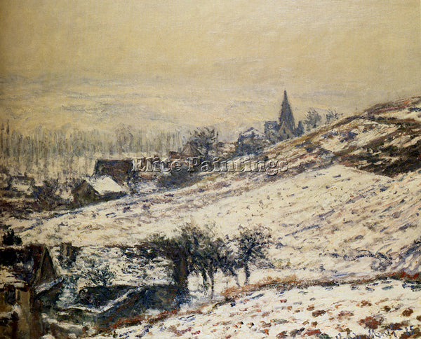 CLAUDE MONET WINTER AT GIVERNY 1885 ARTIST PAINTING REPRODUCTION HANDMADE OIL
