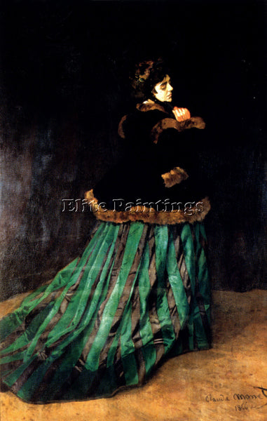 CLAUDE MONET WOMAN IN A GREEN DRESS ARTIST PAINTING REPRODUCTION HANDMADE OIL