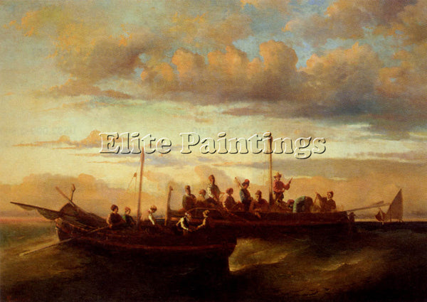 ADOLPHE MONTICELLI JOSEPH THOMAS ITALIAN FISHING VESSELS AT DUSK ARTIST PAINTING