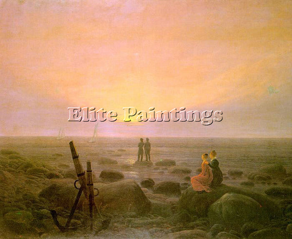 CASPAR DAVID FRIEDRICH MOON RISING OVER THE SEA ARTIST PAINTING REPRODUCTION OIL