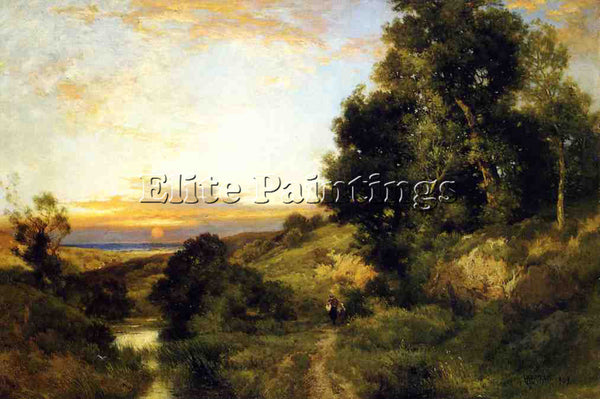 THOMAS MORAN A LATE AFTERNOON IN SUMMER ARTIST PAINTING REPRODUCTION HANDMADE