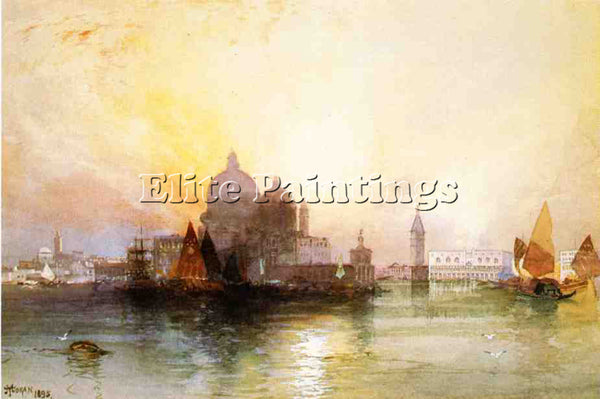 THOMAS MORAN A VIEW OF VENICE ARTIST PAINTING REPRODUCTION HANDMADE CANVAS REPRO