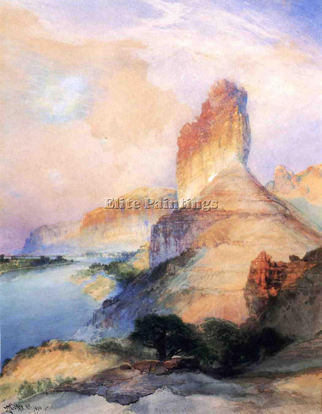 THOMAS MORAN CASTLE BUTTE GREEN RIVER WYOMING ARTIST PAINTING REPRODUCTION OIL