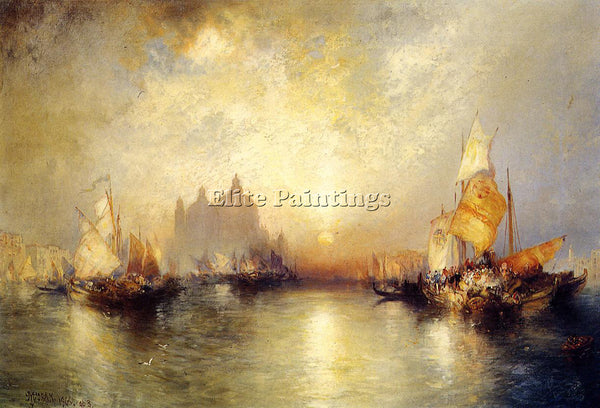 THOMAS MORAN ENTRANCE TO THE GRAND CANAL VENICE2 ARTIST PAINTING HANDMADE CANVAS