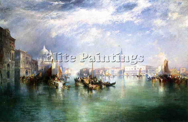 THOMAS MORAN ENTRANCE TO THE GRAND CANAL VENICE ARTIST PAINTING REPRODUCTION OIL