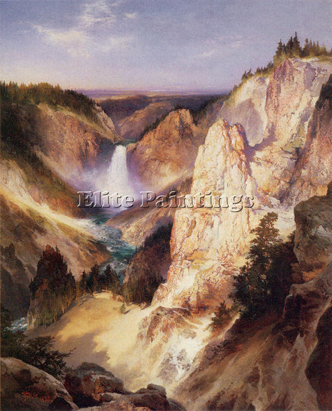 THOMAS MORAN GREAT FALLS OF YELLOWSTONE 1898 ARTIST PAINTING HANDMADE OIL CANVAS