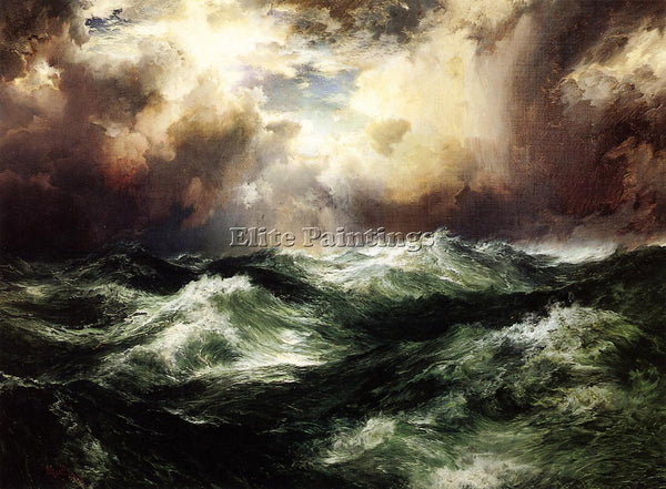 THOMAS MORAN MOONLIT SEASCAPE2 ARTIST PAINTING REPRODUCTION HANDMADE OIL CANVAS