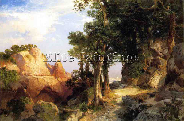 THOMAS MORAN ON THE BERRY TRAIL GRAND CANYON OF ARIZONA ARTIST PAINTING HANDMADE