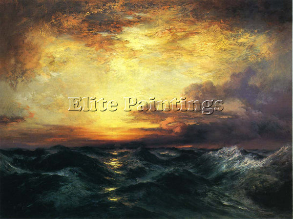 THOMAS MORAN PACIFIC SUNSET ARTIST PAINTING REPRODUCTION HANDMADE OIL CANVAS ART