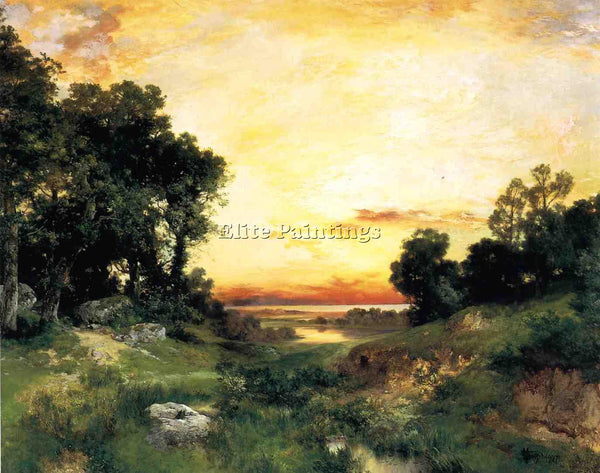THOMAS MORAN SUNSET LONG ISLAND SOUND ARTIST PAINTING REPRODUCTION HANDMADE OIL