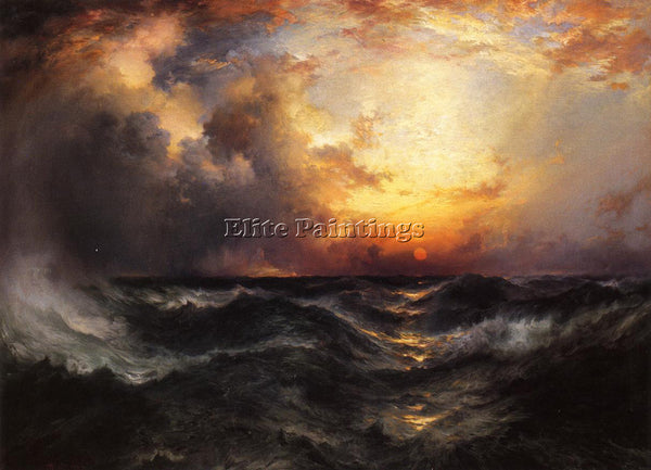 THOMAS MORAN SUNSET IN MID OCEAN ARTIST PAINTING REPRODUCTION HANDMADE OIL REPRO