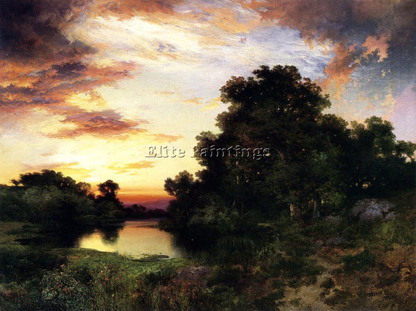 THOMAS MORAN SUNSET ON LONG ISLAND2 ARTIST PAINTING REPRODUCTION HANDMADE OIL