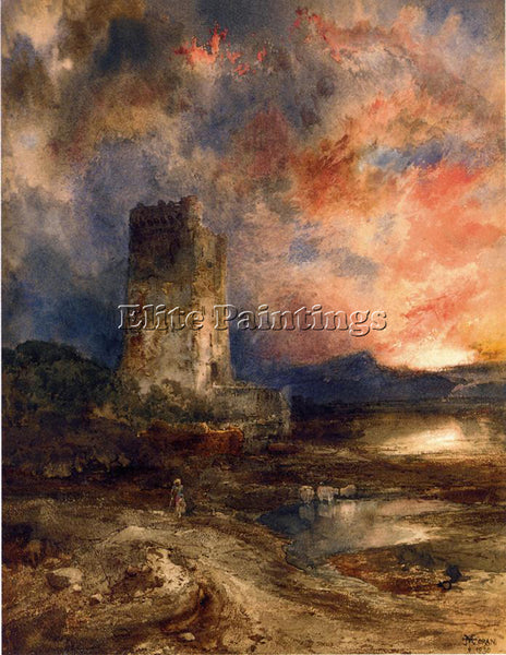 THOMAS MORAN SUNSET ON THE MOOR ARTIST PAINTING REPRODUCTION HANDMADE OIL CANVAS