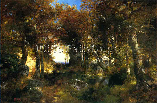 THOMAS MORAN THE WOODLAND POOL ARTIST PAINTING REPRODUCTION HANDMADE OIL CANVAS