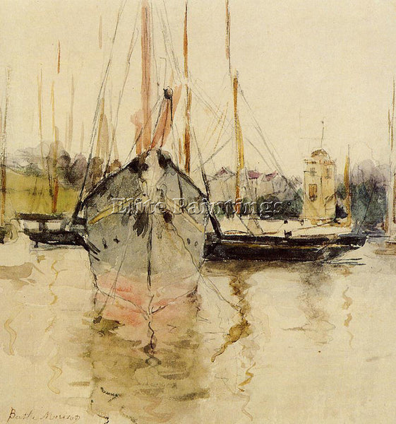 MORISOT BERTHE BOATS ENTRY TO THE MEDINA IN THE ISLE OF WIGHT PAINTING HANDMADE