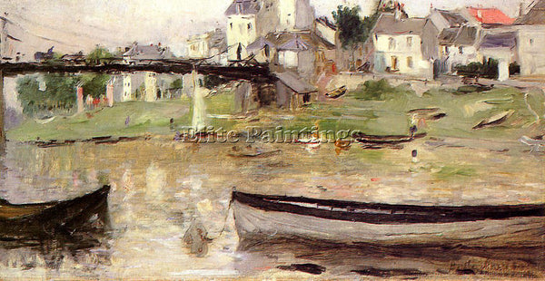 BERTHE MORISOT BOATS ON THE SEINE ARTIST PAINTING REPRODUCTION HANDMADE OIL DECO