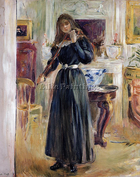 MORISOT BERTHE JULIE PLAYING A VIOLIN ARTIST PAINTING REPRODUCTION HANDMADE OIL
