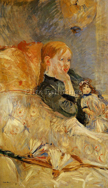 MORISOT BERTHE LITTLE GIRL WITH A DOLL ARTIST PAINTING REPRODUCTION HANDMADE OIL