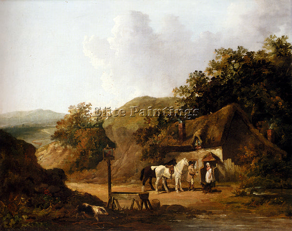 GEORGE MORLAND TAKING REFRESHMENTS OUTSIDE A VILLAGE INN ARTIST PAINTING CANVAS