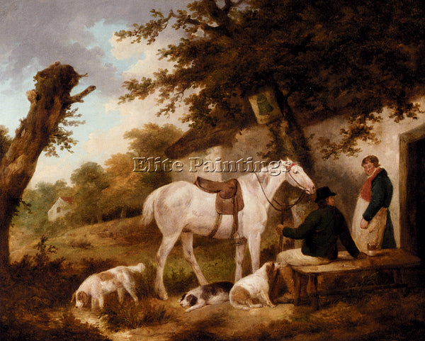 GEORGE MORLAND TRAVELLERS RESTING OUTSIDE THE BELL INN ARTIST PAINTING HANDMADE