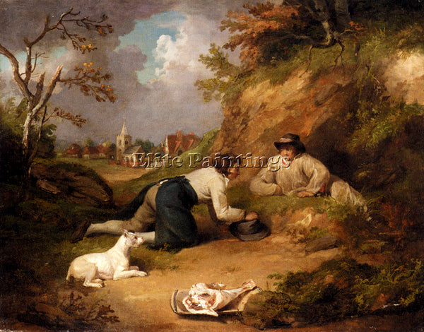 GEORGE MORLAND TWO MEN HUNTING RABBITS WITH THEIR DOG A VILLAGE BEYOND PAINTING