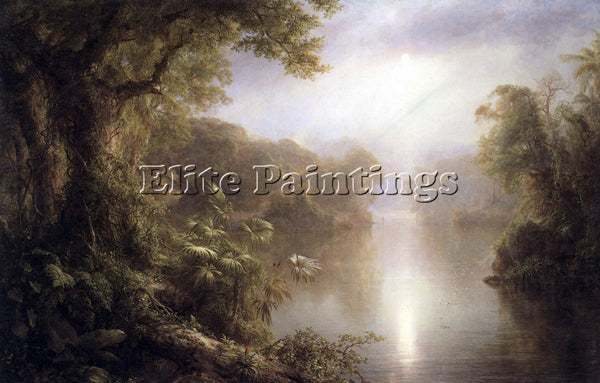 HUDSON RIVER MORNING IN THE TROPICS BY FREDERICK EDWIN CHURCH PAINTING HANDMADE