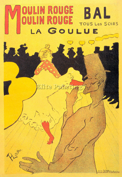 TOULOUSE-LAUTREC MOULIN ROUGE LA GOULUE ARTIST PAINTING REPRODUCTION HANDMADE