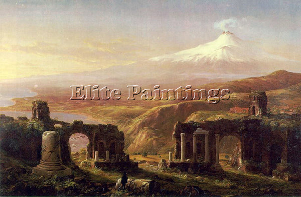 THOMAS COLE MOUNT AETNA FROM TAORMINA ATC ARTIST PAINTING REPRODUCTION HANDMADE