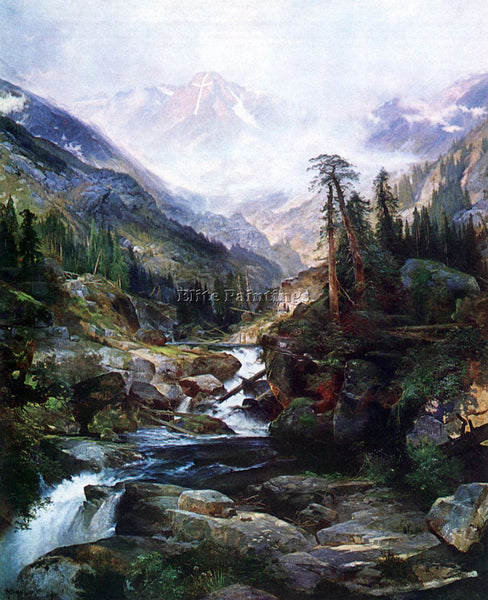 HUDSON RIVER MOUNTAIN OF THE HOLY CROSS BY THOMAS MORAN ARTIST PAINTING HANDMADE
