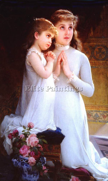 EMILE MUNIER 2 GIRLS PRAYING ARTIST PAINTING REPRODUCTION HANDMADE CANVAS REPRO