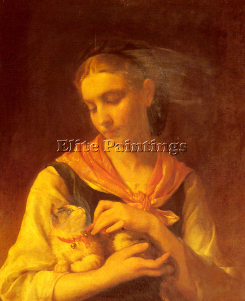 EMILE MUNIER THE FAVORITE KITTEN ARTIST PAINTING REPRODUCTION HANDMADE OIL REPRO