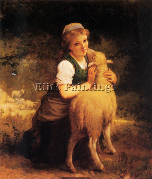 EMILE MUNIER YOUNG GIRL WITH LAMB ARTIST PAINTING REPRODUCTION HANDMADE OIL DECO