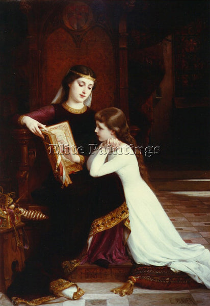 EMILE MUNIER READING LESSON ARTIST PAINTING REPRODUCTION HANDMADE OIL CANVAS ART