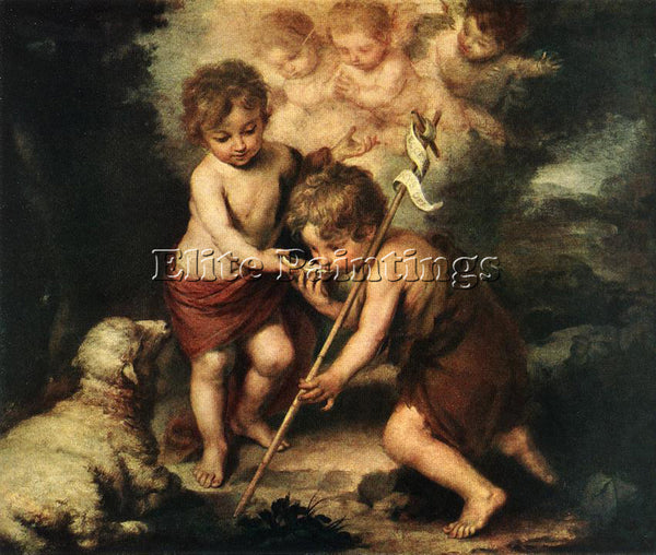 BARTOLOME ESTEBAN MURILLO CHILDREN WITH SHELL ARTIST PAINTING REPRODUCTION OIL