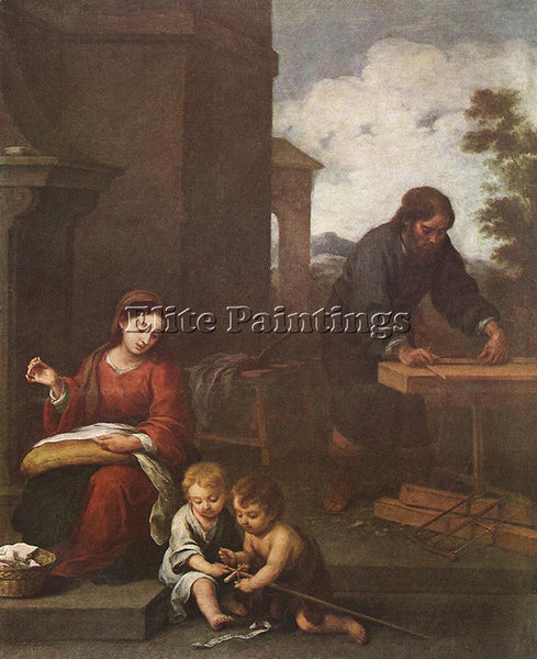 BARTOLOME ESTEBAN MURILLO HOLY FAMILY WITH THE INFANT ST JOHN PAINTING HANDMADE
