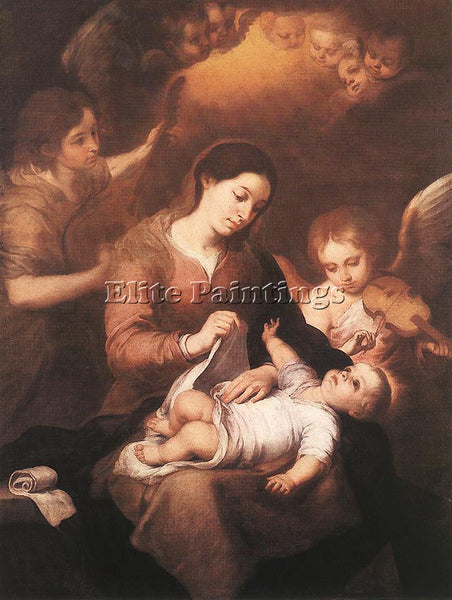 BARTOLOME ESTEBAN MURILLO MARY AND CHILD WITH ANGELS PLAYING MUSIC REPRODUCTION