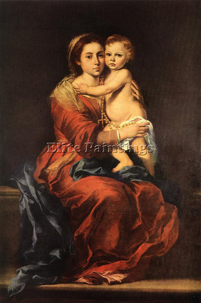 BARTOLOME ESTEBAN MURILLO VIRGIN AND CHILD WITH A ROSARY ARTIST PAINTING CANVAS