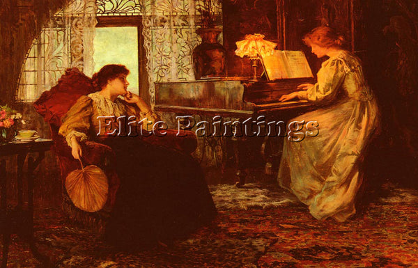 BRITISH MUSCHAMP FRANCIS SIDNEY THE PIANO LESSON ARTIST PAINTING HANDMADE CANVAS